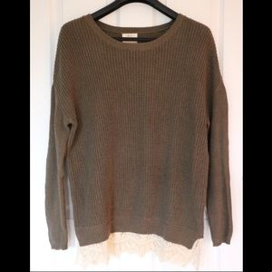 Olive Green Lace Trim Sweater